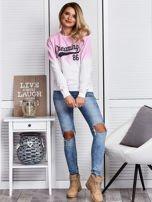 Różowa bluza ombre z napisem                                  zdj.                                  4