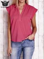 Różowa bluzka koszulowa z ażurowaniem wzdłuż dekoltu                                                                          zdj.                                                                         1