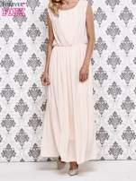 Różowa grecka sukienka maxi z koronką z tyłu                                  zdj.                                  1