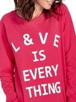Różowa klasyczna damska bluza z napisem LOVE IS EVERYTHING                                                                          zdj.                                                                         5
