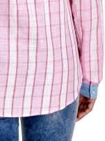 Różowa koszula w pasy z kołnierzykiem, mankietami i kieszonką z jasnego denimu                                  zdj.                                  7