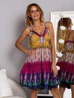 Różowa sukienka dzienna na ramiączka w stylu etno                                  zdj.                                  1