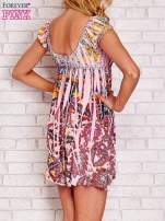 Różowa sukienka kwiatowa odcinana pod biustem                                  zdj.                                  2