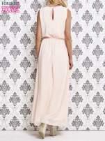 Różowa sukienka maxi z biżuteryjnym dekoltem                                  zdj.                                  4