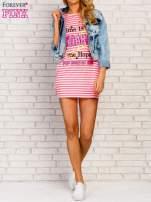 Różowa sukienka w paski z napisem TIME IS UP                                                                          zdj.                                                                         7