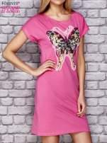 Turkusowa sukienka z cekinowym motylem