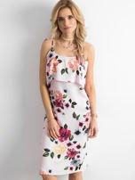 Różowa sukienka z falbaną przy dekolcie                                  zdj.                                  1