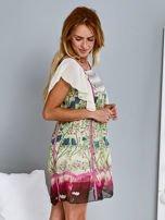 Różowa sukienka z rękawkami typu motylek                                  zdj.                                  1