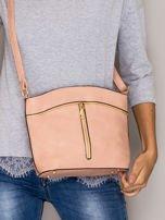 Różowa torebka ze złotymi suwakami                                  zdj.                                  1