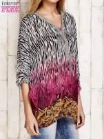 Różowa wzorzysta koszula oversize z dekoltem z cyrkonii                                  zdj.                                  3