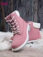 Różowe buty trekkingowe damskie traperki ocieplane                                                                          zdj.                                                                         2