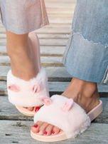 Różowe futrzane klapki z ozdobnymi uszkami                                   zdj.                                  2