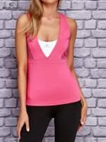 Różowo-biały top sportowy z krzyżowanymi ramiączkami na plecach                                  zdj.                                  1