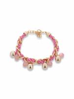 Różowo - złota bransoletka z zawieszkami                                  zdj.                                  1
