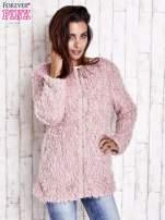 Różowy futrzany sweter kurtka na suwak                                  zdj.                                  2