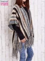 Różowy sweter poncho z frędzlami                                                                           zdj.                                                                         4