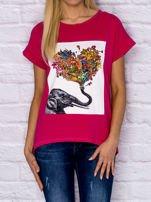 Różowy t-shirt z malarskim nadrukiem                                  zdj.                                  1