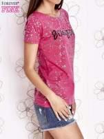 Różowy t-shirt z napisem BONJOUR                                  zdj.                                  3