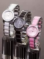 Różowy zegarek damski z cyrkoniami na bransolecie                                  zdj.                                  3