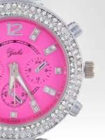Różowy zegarek na bransolecie z cyrkoniami na tarczy                                  zdj.                                  6