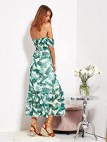 SCANDEZZA Biało-zielona sukienka maxi off shoulder w liście                                  zdj.                                  6