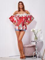 SCANDEZZA Czerwona lniana bluzka cold shoulder w kwiaty                                  zdj.                                  4