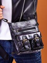 Skórzana torba męska czarna z kieszeniami                                  zdj.                                  7