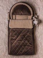 Śpiworek niemowlęcy pikowany do wózka lub łóżeczka z poduszeczką ocieplany na futerku brązowy                                  zdj.                                  1
