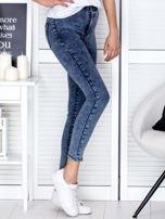 Spodnie ciemnoniebieskie high waist z dekatyzacją                                   zdj.                                  5