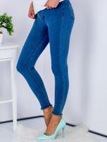 Spodnie rurki high waist ze stretchem niebieskie                                  zdj.                                  5