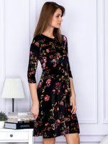 Sukienka czarna welurowa z roślinnym motywem                                  zdj.                                  5