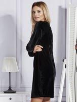 Sukienka damska welurowa z kieszeniami czarna                                  zdj.                                  5