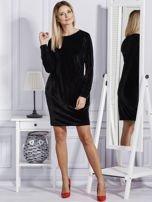 Sukienka damska welurowa z kieszeniami czarna                                  zdj.                                  4