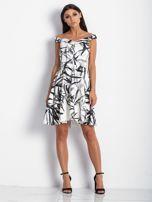 Sukienka ecru z motywem liści                                  zdj.                                  4