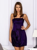 Sukienka koktajlowa gorsetowa z plisami ciemnofioletowa                                  zdj.                                  1