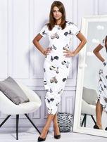 Sukienka maxi z nadrukiem skuterów biała                                  zdj.                                  1
