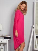 Sukienka oversize z dłuższym tyłem malinowa                                  zdj.                                  5