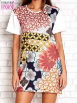 Sukienka w kwiatowe i geometryczne wzory                                  zdj.                                  1
