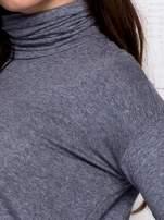 Szara asymetryczna bluzka z golfem                                                                          zdj.                                                                         7