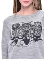 Szara bluza damska z sówkami                                                                          zdj.                                                                         5