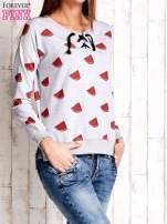 Szara bluza w arbuzy z wiązaniem                                  zdj.                                  4
