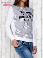 Szara bluza z nadrukiem łabędzi i napisem CUTE MINIMALIST