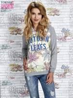 Szara bluza z nadrukiem liści i napisem AUTUMN LEAFS                                  zdj.                                  1