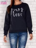 Szara bluza z napisem JUST LOVE i perełkami                                                                          zdj.                                                                         1