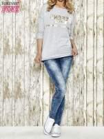 Szara bluza ze złotym napisem i suwakiem                                  zdj.                                  2