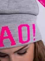 Szara czapka beanie z napisem CIAO!                                  zdj.                                  4