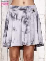 Szara dresowa spódnica szyta z koła z efektem  tie-dye