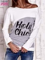 Szara-ecru bluza oversize z napisem HOLY CHIC