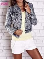 Szara jeansowa kurtka w tłoczone wzory