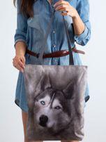 Szara materiałowa torba z nadrukiem husky                                  zdj.                                  3